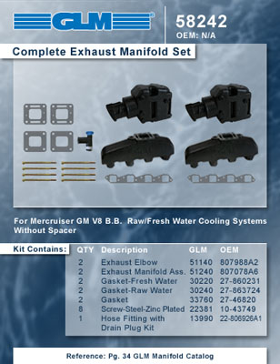 MERCRUISER COMPLETE EXHAUST MANIFOLD SET GM B-B (CAST IRON)