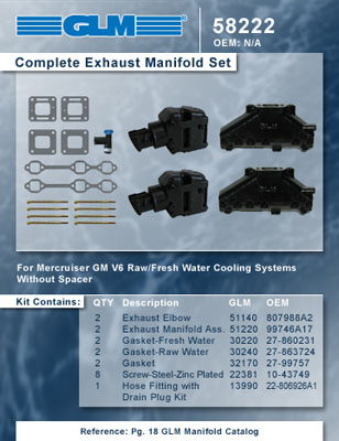 MERCRUISER COMPLETE EXHAUST MANIFOLD SET GM 4.3L V6 (CAST IRON)